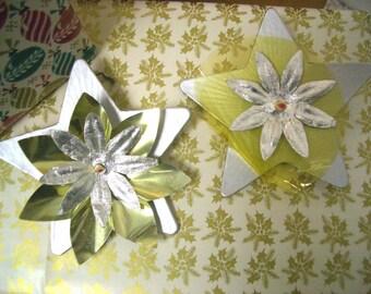 Vintage Christmas Silver Flower Stars
