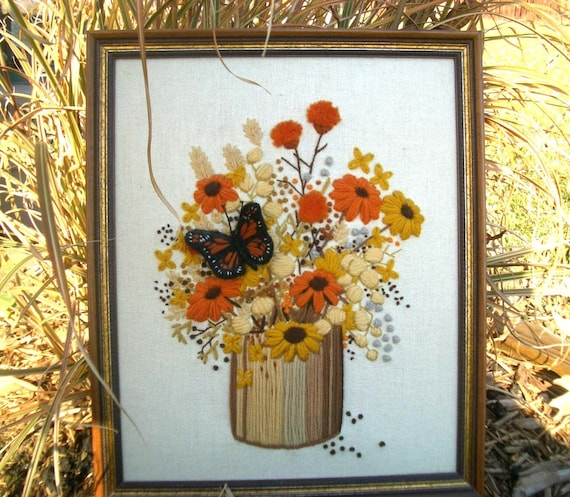 Retro Framed Embroidered Flower and Butterfly Picture