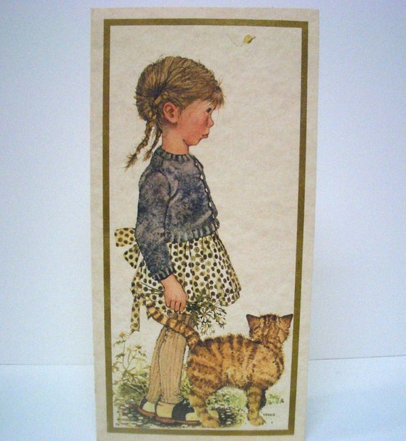 Vintage  Holly Hobbie Card with Yellow Cat-1971