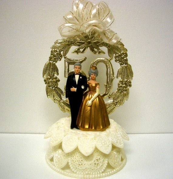 Vintage wilton 50th anniversary cake topper - Th anniversary cake decorations ...