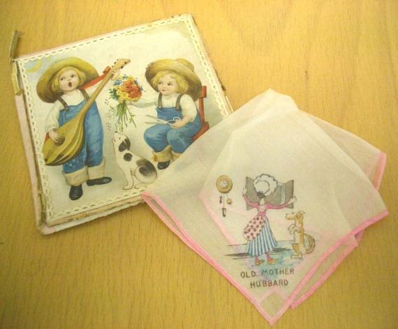 Vintage Old Mother Hubbard Handkerchief in Box