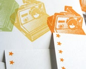 Retro/Vintage Polaroid Camera Mini Envelopes and Card Set - Citrus