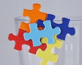 Autism Awareness Upcycled Puzzle Piece Pin