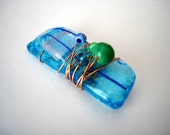 SALE  cool day blue glass pendant