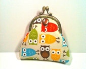 Coin Purse in Owl Fabric with Brown Button
