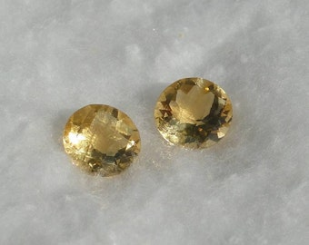 Citrine faceted round, 8mm, checker top, 1.90 carats each                              018-08-072