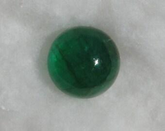 Fine Emerald round cabochon, 11mm, 6.50 carats, translucent clarity, Brazil           024-17-002
