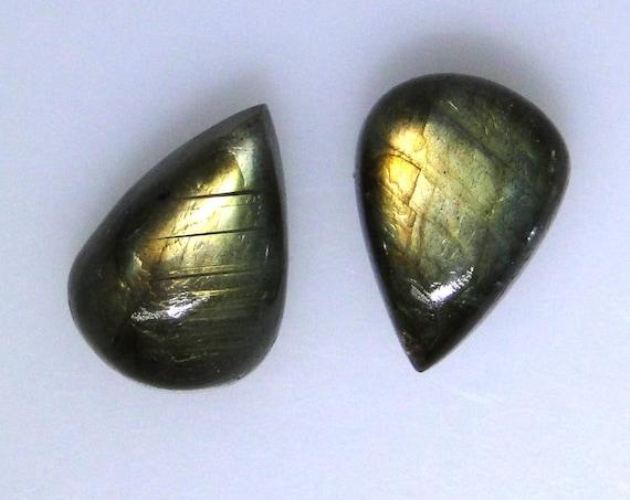 Pair Labradorite pear cabochons, 13x18mm each, 29 carats total                            043-13-311