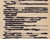 Wait, Redacted Poem, Framed Recycled Paperback Page, Loss, Departure, Longing