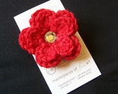 Red Crocheted Flower Hair Clip with Rhinestone Center - A cute crochet flower clippie for girls of all ages - Back to School hair bows