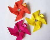 Tangerine Orange, Dark Pink, Lemon Yellow Felt Pinwheel Hair Clips - Set of 3 - Every day clippies - Cute birthday gifts and party favors