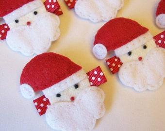 Santa Claus Felt Hair Clip - A cute Christmas clippie - Winter hair clip - Christmas hair bow with non slip grip - Holiday hairbow