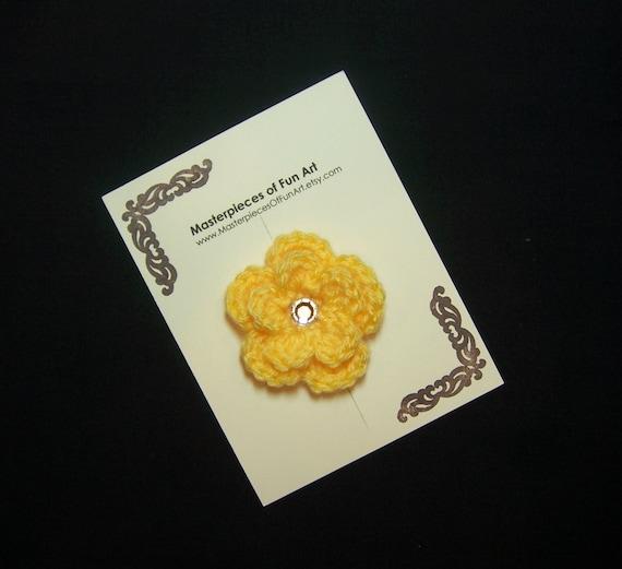Yellow Crocheted Flower Clippie