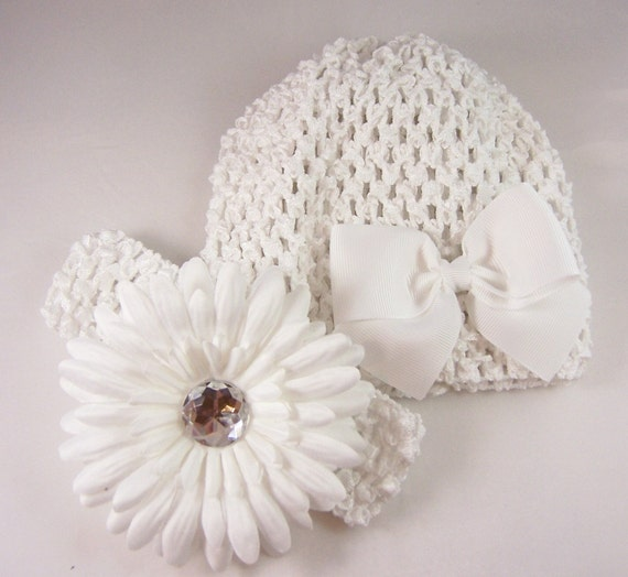 the all white baby shower or new baby gift set crocheted hat