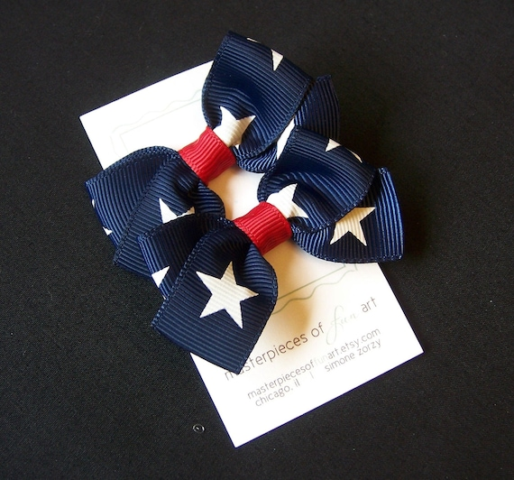Patriotic Small Classic Style Bow Hair Clips - Set of Two Hair Bows - Red, White and Blue - Perfect for Labor Day
