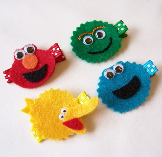 Sesame Street Inspired Felt Hair Clips - Set of 4 - Elmo, Oscar the Grouch, Big Bird and Cookie Monster Inspired Clippies - Special Price