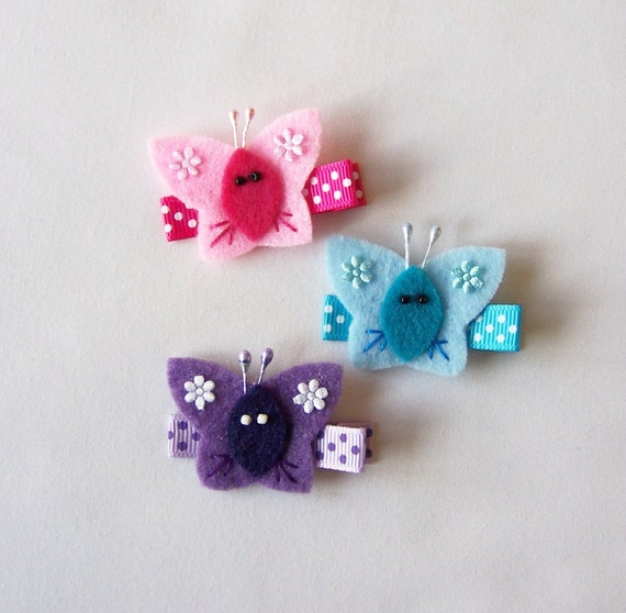 Small Felt Butterfly Hair Clips - Set of 3 Clippies - Pink, Turquoise and Purple Butterflies - So fun for spring and summer