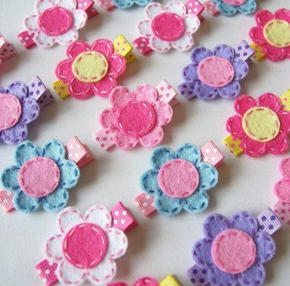 Small Felt Flower Hair Clips - Set of 5 Flower Clippies - Pink, Yellow, Lavender, Light Blue, White - Super cute felt flower clip set