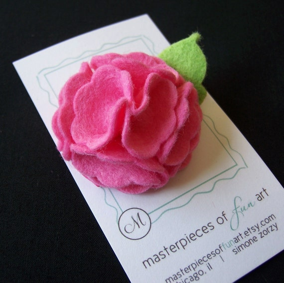 Hot Pink Felt Scallop Flower Hair Clip - A gorgeous felt clippie for every day wear and special occasions