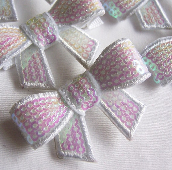 White Sequin Bow Hair Clip -  Sequined Bow Clippie - Cute for every day and special occasions - birthday party favors