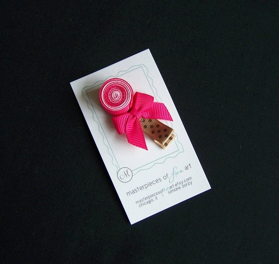 Shocking Pink and Pearl Pink Lollipop Hair Clip - A Cute Ribbon Sculpture Clippie - Every day clips - Birthday party favors