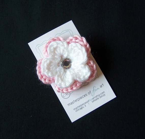 Light Pink and White Crocheted Flower Hair Clip with Rhinestone Center - Crochet flower clippies - Photo Props - SALE PRICE