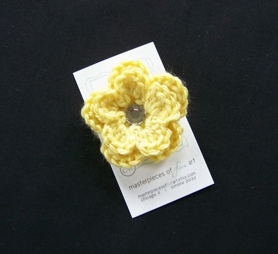 Lemon Yellow Crocheted Flower Hair Clip with Rhinestone Center - Crochet flower clippies - Baby Shower Gifts - Photo Props