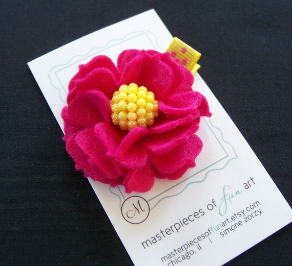 Dark Pink Felt Carnation Flower Hair Clip with Fun Yellow Sparkly Center - Felt clippies - Flower hair clips