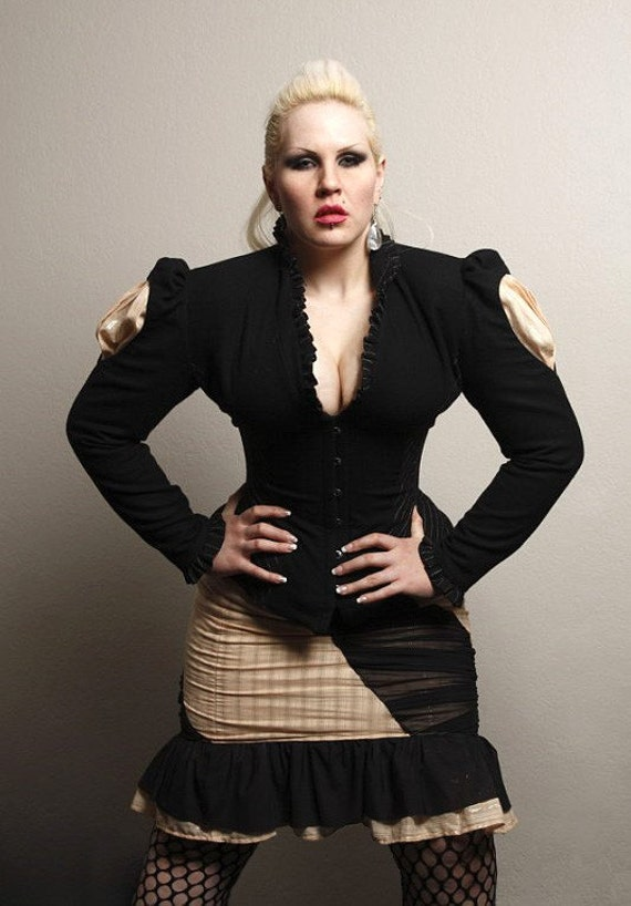 Tailored Wool Corset Jacket with Slash-Through Sleeves Custom Made in YOUR Size
