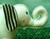 Elsa the Elephant eco-friendly upcycled stuffed t-shirt toy plushie stuffie softie in green with striped ears