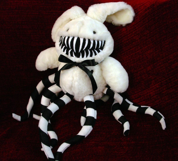 RESERVED for Clockworkbats Bunny Rabbit Monster- Black and White Striped Tentacles