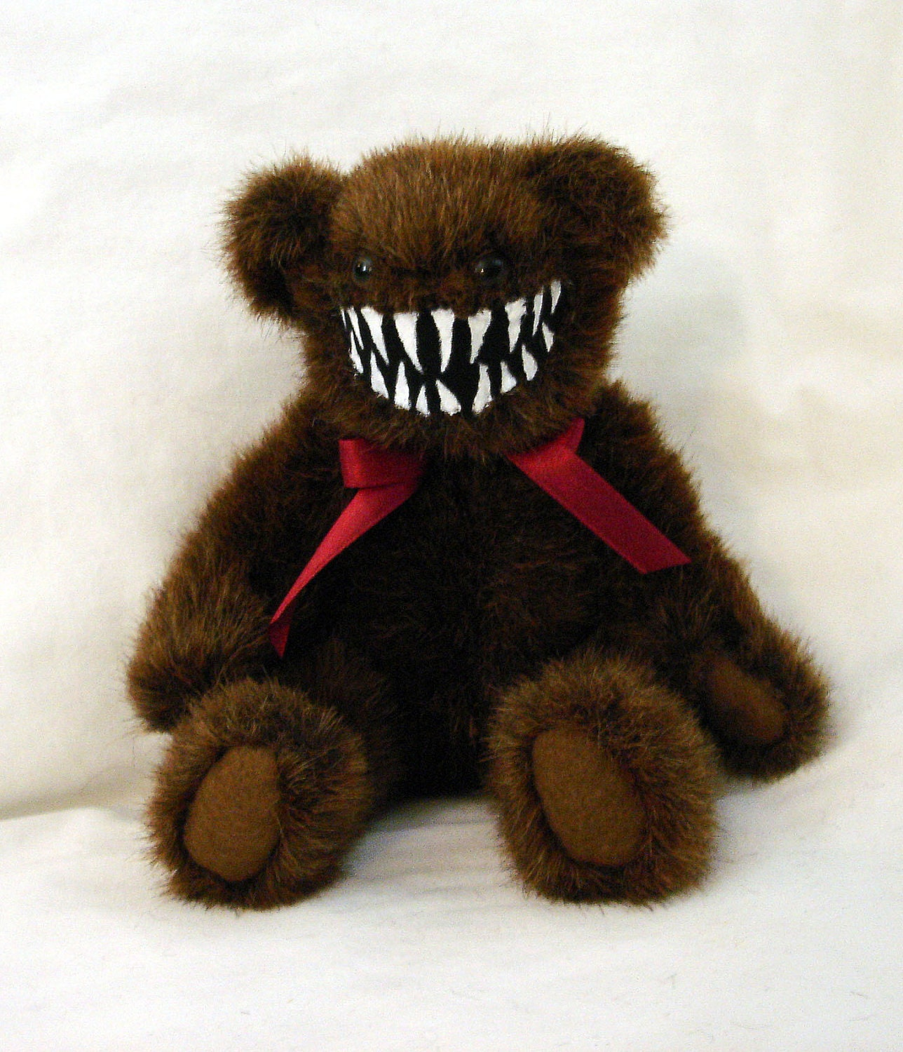 Mini Smiling Monster Teddy Bear Dark Brown And Toothsome