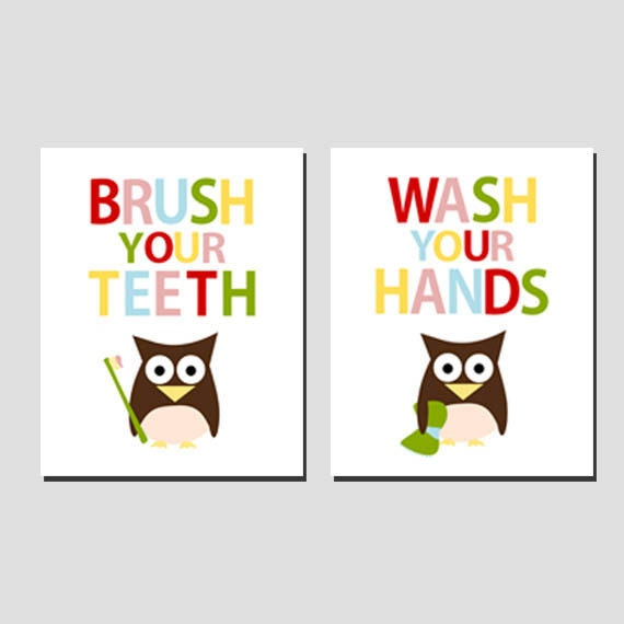 Brush your teeth and Wash your hands - owl - colors - set of 2 prints - 8x10 on A4