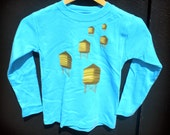 Children's Tshirt Water Towers in Turquoise Blue Long Sleeve