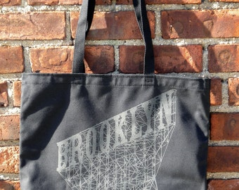 Brooklyn Canvas Shoulder Tote Bag in Black and Grey