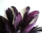 VOGUE GOOSE Feather Fringe, Exclusive  Quality, Dark Plum, Eggplant / 817
