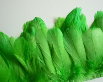 FEATHER FRINGE Fine Quality Goose Feather, Lime  Green / 787