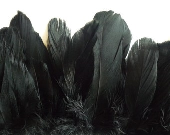 GOOSE FEATHERS , Black, Ebony / 805
