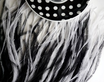 OSTRICH FEATHER FRINGE, 2 Ply, Black and White  / 331