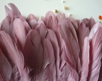 GOOSE FEATHER FRINGE ,  Mauve, Dark Antique French Pink /  450