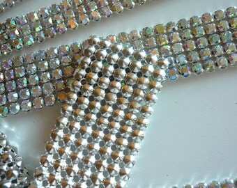DIVA Rhinestone Banding, Trim /  AB Iridescent Crystal w/ Silver Back / 2 rows / DAB23618