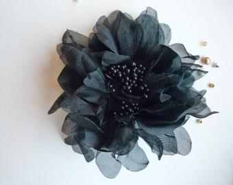 SILK PEONY FLOWER , Black / 635