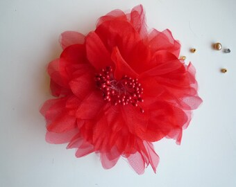 SILK PEONY FLOWER , Strawberry Red / 641