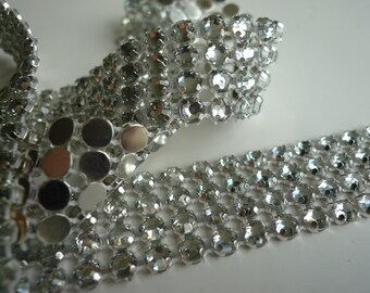 PRINCESS Rhinestone  Banding  /  Clear  w/ Flat Silver Back / 4 rows, 1 yard / APRIL