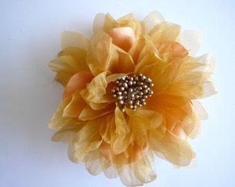 SILK PEONY FLOWER , Amber, Gold  / 639
