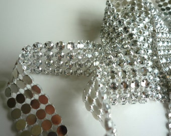 PRINCESS Rhinestone  Banding  /  Clear  w/ Flat Silver Back / 3 rows, 1 yard / ALICIA