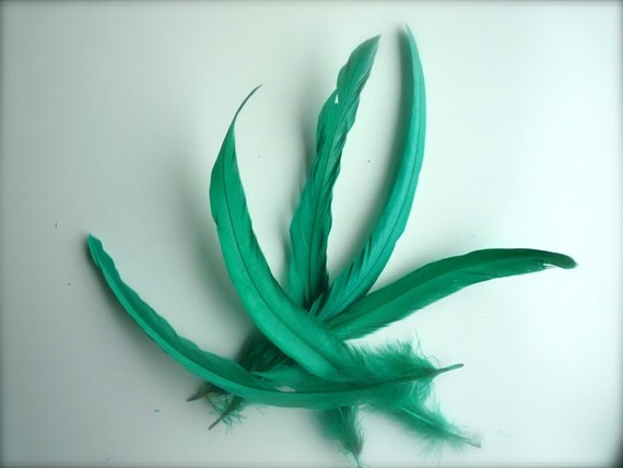 COQUE TAIL FEATHERS Loose / Satin Emerald, Mermaid  Green / 188