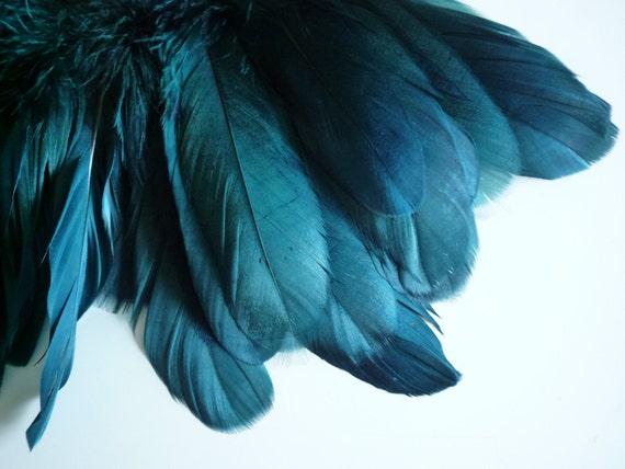 VOGUE GOOSE FEATHER Fringe,  Peacock,  Dark Teal Blue /   823