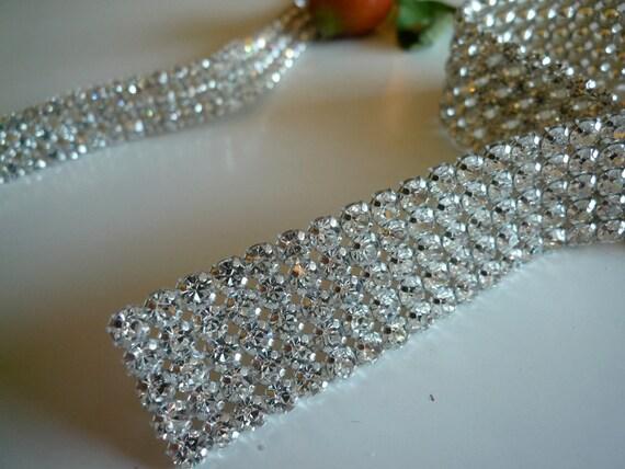 DIVA Rhinestone  Banding, Trim /  Clear Crystal w/ Cone Silver Back / 4 Rows