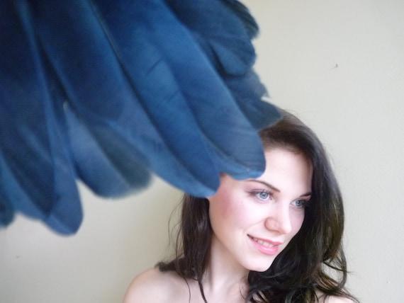 VOGUE GOOSE Feather Fringe, Exclusive  Quality, Dark Denim Blue  /  438